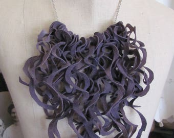 Beautiful Purple Soft Suede Leather Curly Fringe Bib Necklace Choker (#28)