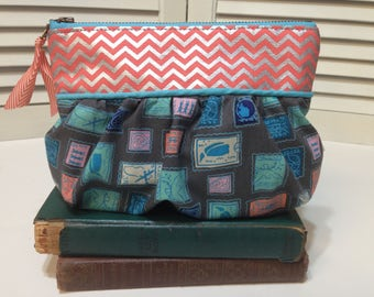 Stamp Lover Chevron zipper pouch cosmetic bag