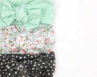Baby Headband Set, Polka Dot Headband, Knotted Headband, Baby Girl Headband, Mint Headband, Baby Girl Bow, Baby Accessories, Floral Headband