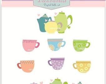 ON SALE Vintage teacup clipart// teapot clipart, teaparty clipart, ONSALE, Instant Download