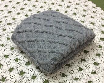 Oxford Grey chunky hand knit baby blanket, 28x36