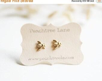 Tiny Brass Bee Earrings >> Honeybee Post Earrings << Bridesmaid Gifts >> Bee Themed Wedding