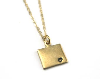 Wyoming State Custom Necklace | Moving Gift | Best Friend Necklace | State Love | Personalized Brass Jewelry | Made in USA | Keepsake Gift