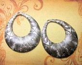 4 Antique silver earring chandeliers bohemian gypsy tribal dangles 52mm x 59mm 262-