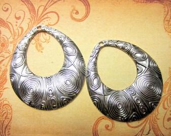 4 Antique silver earring chandeliers bohemian gypsy tribal dangles 52mm x 59mm 262-(G2)