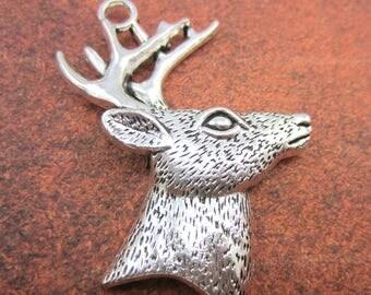 3 Silver deer head charms deer silvertone pendants buck with antlers pendants 42mm x 59mm Bus (DD6),