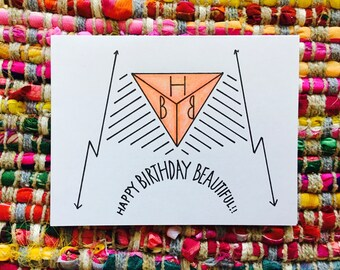 Geometric Happy Birthday Card (blank)