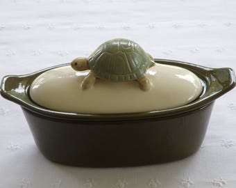 Turtle Pottery Butter Boat (3 Piece) - Dark Olive Green or Sage - USA Made