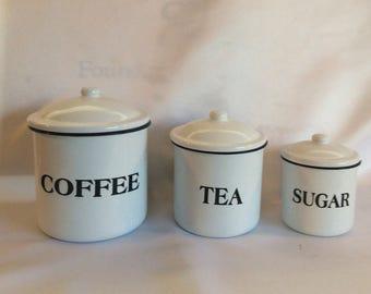 Vintage Porcelain Enamelware Canisters