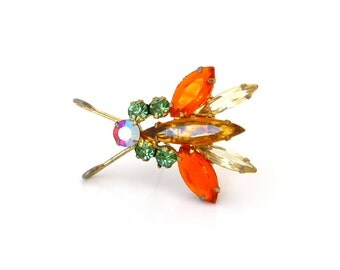 JULIANA Bug Rhinestone Brooch • D&E Fly Insect Figural Pin • Vintage 1960s Jewelry