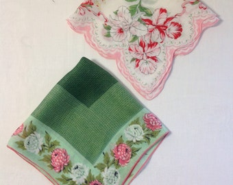 Vintage Floral Green and Pink Handkerchiefs (H-65  )