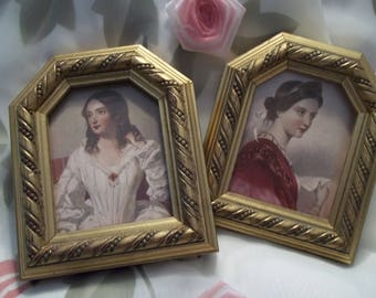 MINT Gorgeous Pair of E A Riba Victorian Ladies Ornate Golden Wood Frames - Victorian - Collectible - Vintage