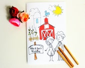 Wedding coloring book Wedding coloring pages Wedding activity book Personalized Wedding Coloring book Kids Rustic Wedding Ring Bearer Gift
