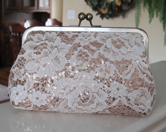 Ivory Chantilly Lace And Blush Sequin Clutch,Floral Lace Clutch,Bridal Accessories,Wedding Clutch,Bridal Clutch,Bags And Purses