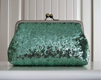 Seafoam Green Sequin Clutch,Wedding Accessories,Bridal Accessories,clutch purse,Wedding Clutch,Bridesmaid Clutch, Bridal Purse