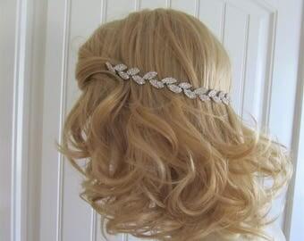 Silver Leaf Rhinestone Bridal Headband,Bridal Accessories,Wedding Accessories,Silver Hair Vine,Bridal Headpiece,#HV6