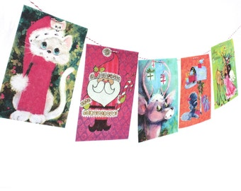 Retro 70s Christmas Banner - Old School Christmas Card Garland - Mod 70s kitsch decor - photo reproductions on felt