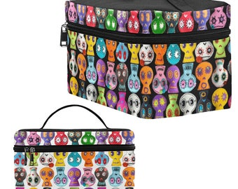 Sugar Skull Toiletry Bag - Day of the Dead Dopp Kit - large zippered makeup bag - black or white background