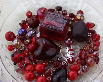 Red Bead Mix, Red Destash Beads, 44g Red Glass Beads, Bead Destash, Mixed Lot of Loose Beads, Red Bead Soup, Holiday Beads #3