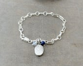 Wedding Locket Bracelet, Charm Bracelet, Sterling Silver Bracelet, Vintage Oval Locket  Silver Photo Locket Something Blue Bridal Bracelet