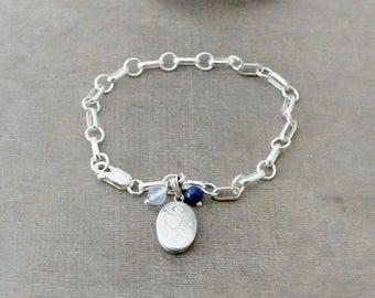 Silver Charm Bracelet, Small Locket Charm, Sterling Silver Bracelet, Vintage Oval Locket Silver Chain Bracelet Silver Photo Locket Push Gift