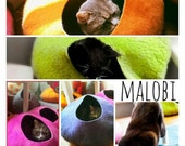 ON SALE Cat Cave / cat bed - handmade felt - bright block colours - S,M,L,Xl + free felted balls