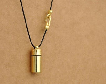 SECRET MESSAGE BOTTLE, brass tube container, perfume bottle locket, pill box container, golden raw brass container locket, long chain,