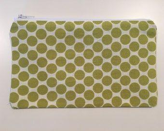 Reusable Snack Bag,  Zipper Bag,  Essential Oil Bag, Boy Snack Bag, Girl Snack Bag, Green Polka Dot