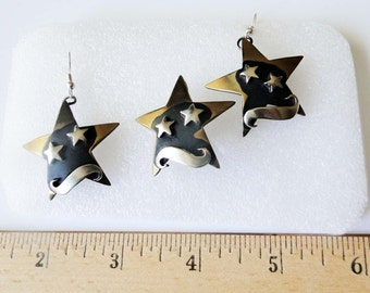 Stars Moon Brooch Earrings Pierced