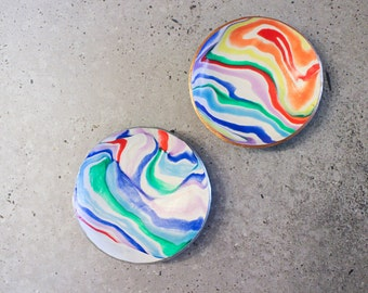 Rainbow polymer clay marble bowl, catchall, ring & jewellery dish, home decoration