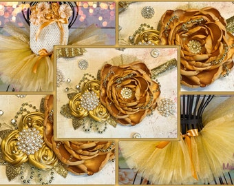 Gold Over the Top headband Large Fabric flower rosette First Birthday Baby Girl Shiny Glitter Beauty Pageant Newborn Baby Shower Pearls Gems