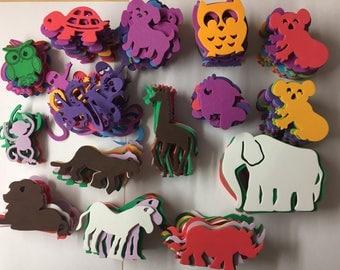 Animals Jungle Giraffe Horse Elephant Dog Foam Shape/Stickers Scrapbook Planner Card Making