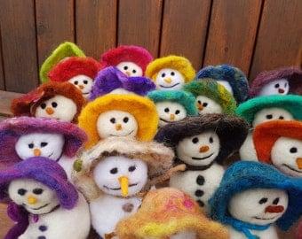 Snowmen Needle Felted Christmas Time Joy
