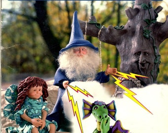 Fimo Fantasies Step by Step Guide to Sculpting Fanciful Dragon Wizard Fairy Ent Unicorn Elf Leprechaun Troll Craft Pattern Leaflet HOTP 233