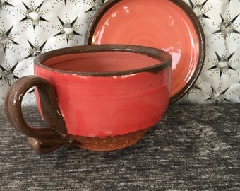 Ceramic Teacup and Saucer - Cappuccino Set in Poppy Red and Dusky Rose and Terra Red Stoneware