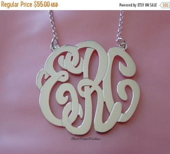 15% Off Monogram Necklace - Initials Monogram Necklace - Silver Monogram Necklace - Custom Monogram Necklace