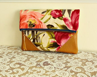 Tropical floral foldover clutch handbag pouch leather trim clutch  --Ready to Ship--