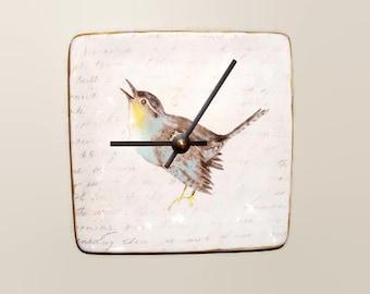 6 Inch Small Bird Wall Clock, Silent Ceramic Plate Clock, Unique Wall Decor, Kitchen Clock, Bird and Script Wall Clock - 2484