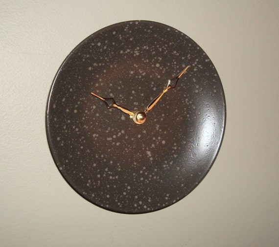 Stoneware Plate Wall Clock 7 Inches, SILENT Charcoal and Gray Speckled Plate Clock, Small Kitchen Clock, Unique Wall Clock - 244