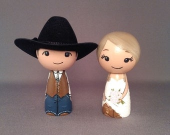 Cowboy Wedding Cake Toppers Doll with 2 cowboy hats