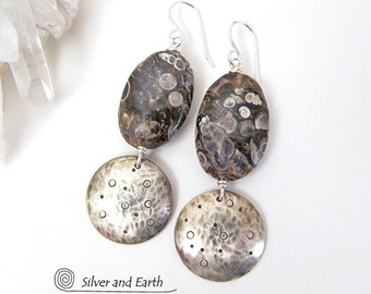 Turritella Fossil Earrings, Sterling Silver Earrings, Ancient Fossil Jewelry, Fossil Stone Earrings, Handmade Silver & Natural Stone Jewelry