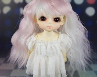 "Fatiao - Dollfie Lati Yellow Pukifee 5-6"" Doll Wig - Pink & White"