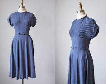 50s Dress - Vintage 1950s Dress - Chambray Blue Rayon Pintucked Dress w Pink Angora Collar S - Bunny Luv Dress