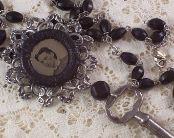 Tintype Button Skeleton Key Rosary Bead Silver Black assemblage necklace by ceeceedesigns on etsy