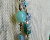 Relic Series - Ice Dancer - long dangle necklace with ice blue agate