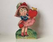 Valentine Mechanical Googly-Eyed Girl Holding Heart Vintage Germany
