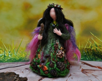 Needle felted Waldorf Love Forest Fairy. Wool Fairy, needle felted fairy, Waldorf fairy, Waldorf felted doll, Waldorf Inspired Wool Fairy.
