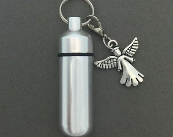 Angel - Ashes Urn - Cremation Necklace - Ashes Holder - Vial Key Chain