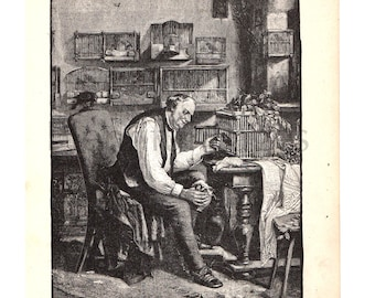 1888 Vintage Illustration from Belford's Annual Images Book, Antique Book Page, Canary, Victorian Man, B&W Illustration, Great to Frame.