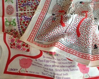 Pair of Two Vintage Liberty of London Tea Towels Unused from the 1970s